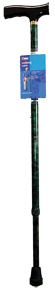 Cane, Derby Handle, Green, Adjustable