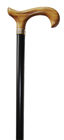 Cane, Wooden, Black Finish w/Cherry Handle, Derby