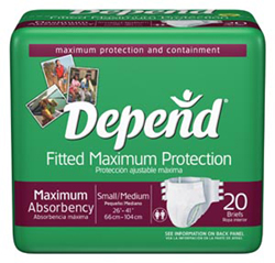 Depends Overnight Brief, Med, 4bg/20