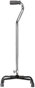 Quad Cane, Large Base, Chrome